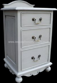 Sandrine 3 Drawer French Bedside in your choice of colour